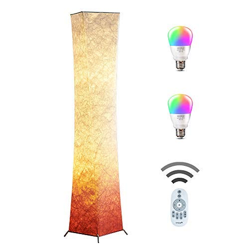 Lamp Metal Floor Square (Floor Lamp, CHIPHY Modern Lamp, Color Changing and Dimmable Smart RGB LED Bulbs, Remote Control and Red White Fabric Shade, Standing Light for Living Room, Bedroom and Office(10