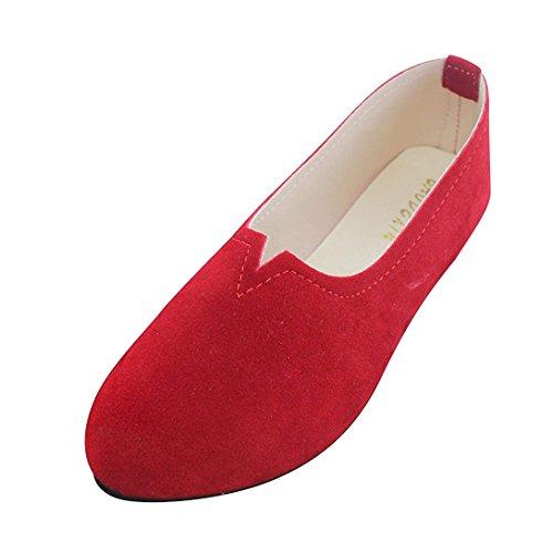 Basic in Estate Donna Ecopelle Rosso Vdual con da Donna Quotidiano per Scarpe Abbigliamento Ballerine Floreale ZaItnwwq