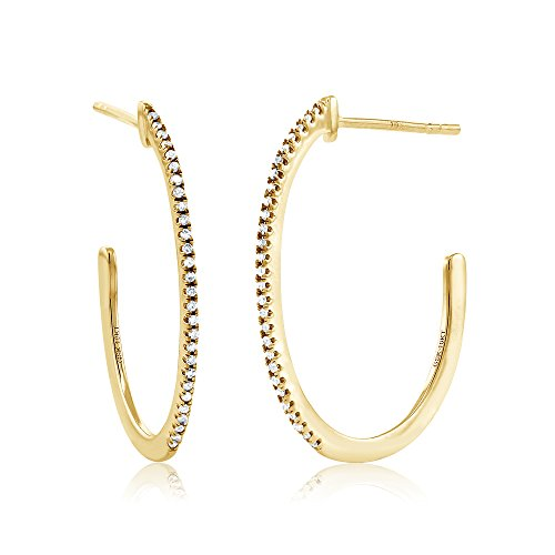10K Yellow Gold 1 Inch Round Cut Women's Diamond Half Hoop Earrings (0.084 cttw, I-J Color, I1-I2 Clarity)