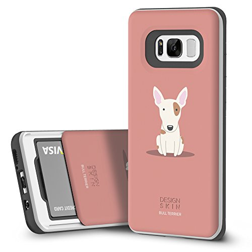 DesignSkin [Slider] Galaxy S8 Plus Case with Slim Triple Layer Wallet Design Shockproof Bumper Cushion Card Slot Holder for Samsung Galaxy S8 Plus (S8+) Fashionable Smartphone Accessory(Bull Terrier)