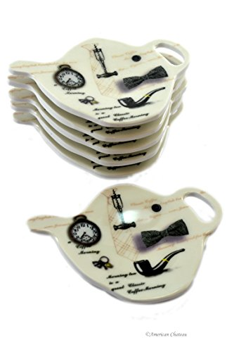 Set of 12 Hipster Tie Barber Melamine Teapot Tea Bag Holder Plate ()