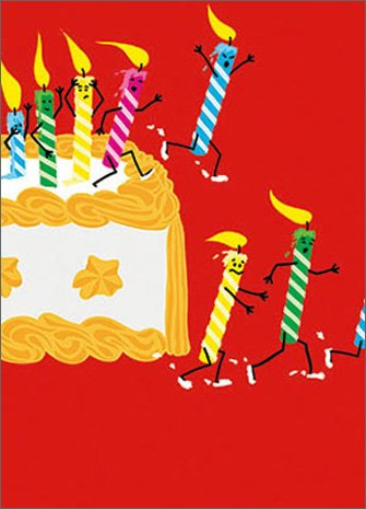 Running Birthday Candles APress Glitter Card