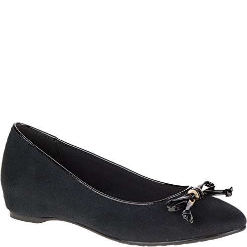Morbido Stile Hush Puppies Womens Darlene Flat Black Faux Suede / Nero Patent