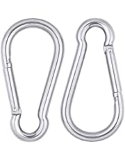 AOWISH 2 PCS Stainless Steel Spring Snap Hook, 304 Stainless Steel Carabiner Clips, Heavy Duty Quick Link Lock Ring Spring Buckles (3/8-Inch Diameter, 4-Inch Length, 650 Lbs)