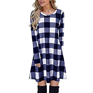 Blooming Jelly Women's Plaid Swing Dress Long Sleeve Round Neck Tunic Mini Dress