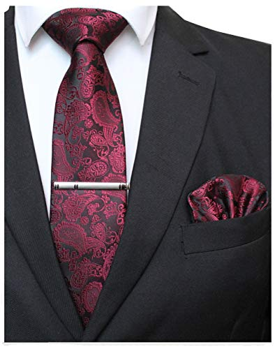 JEMYGINS Burgundy Paisley Tie Wedding Business Silk Necktie and Pocket Square, Hankerchief with Tie Clip Sets for Men(4) ()