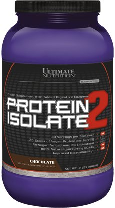 Ultimate Nutrition Protein Isolate 2 - Pea & Wheat Protein Blend - VEGAN (Chocolate, 2lb)