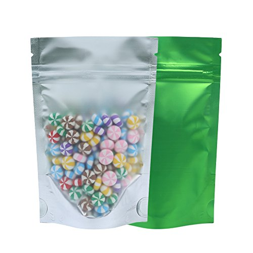 Front Zipper Mm (100PCS Matte Clear Front Green Back Stand-Up 1oz Bags (8.5x13cm (3.3x5.1