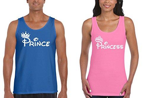 Disney Prince and Princess Couples Matching Tank Tops (M Blue.L / W (Disney Princess Couples)
