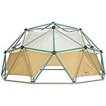 """NEW! Powder-coated Steel Dome Climber with Earthtone Canopy and Real """"Rock-climbing Hand Grips"""", Tan/Green Finish"""