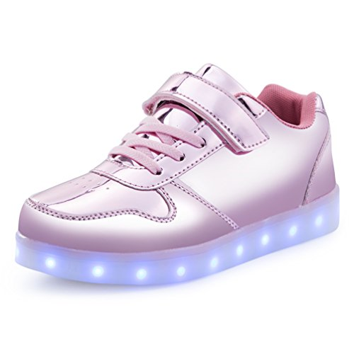 AFFINEST Boy Girls Light up Shoes Led Flashing Fashion Sneaker for Kids Toldder(Little Kid US1/EU32, Pink)