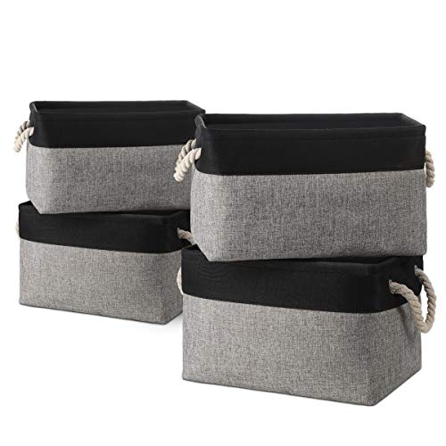 Large Linen Storage Bins Baskets Boxes Containers Organizers Collapsible [4-Pack] Foldable Fabric Storage Boxes Sets…