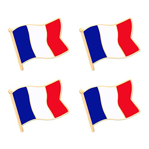 ALEY France French Flag Lapel Pin Decorations (4 Pack)