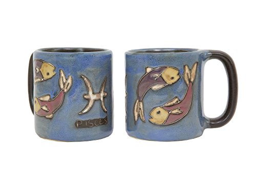 One (1) MARA STONEWARE COLLECTION - 16 Oz Coffee Cup Collectible Mug - Zodiac Sign - Pisces The Fish Design