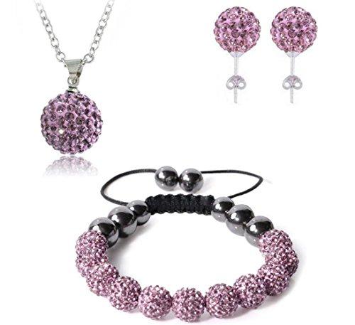 Bharatanatyam Costumes Blue - AdamEva Factory - Crystal Shamballa Disco Balls Sets Jewelry Set [Necklaces Pendants / Bracelet / Earring Studs] (Purple)