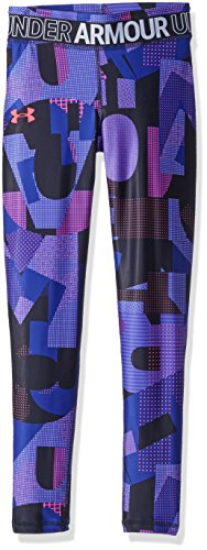 Under Armour Girls' HeatGear Armour Printed Leggings, Black (001)/Penta Pink, Youth X-Small