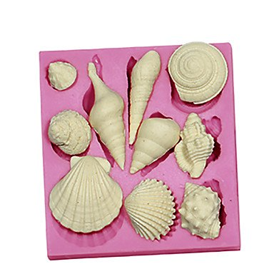 FMY 3D Marine Animal Shell Silicone Fondant Cake Molds Mould SM-091 , pink