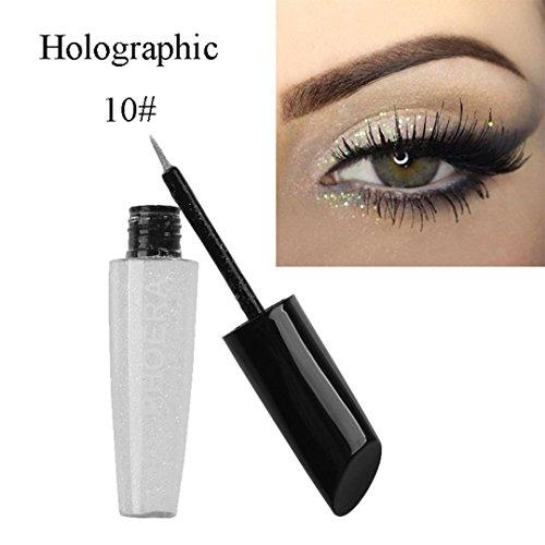 Clearance! Glitter Liquid Eyeliner, Iuhan Long-lasting Makeup Metallic Shiny Eyes Eyeshadow Waterproof Glitter Liquid Eyeliner (J)