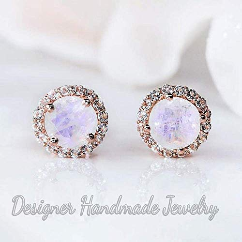rose gold cz moonstone earrings, rose cut moonstone stud earrings, moonstone earrings, rose gold gemstone studs, sterling silver 925 earrings, stud earring