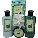 Eucalyptus Spa Gift Set by Art de Moi, 5 Piece Kit with Shower Gel, Moisturizing Lotion, Soothing Bath Salts, Body Scrub, and Flower Soap Petals A refreshing gifts idea for women
