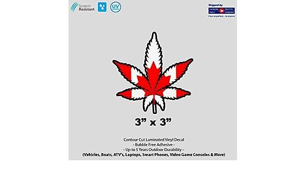 "3/"" x 3/""  Canadian Weed Marijuana Cannabis Pot Leaf Laminated Vinyl Decal"