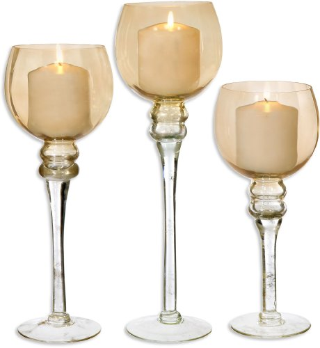 Palais Glassware Elegant Bougeoir Collection, Set of 3 Hurricane Candle Holders (Amber Finish)