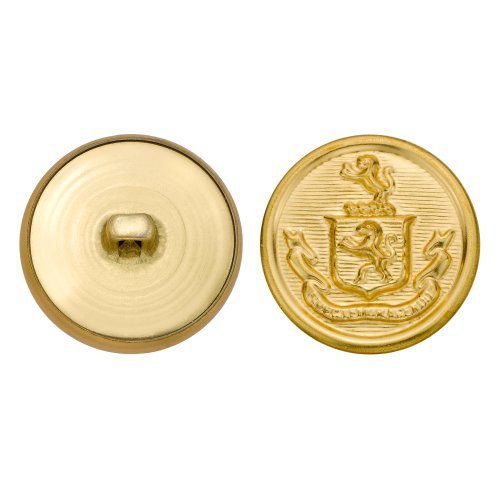 C&C Metal Products 5257 Crest Metal Button, Size 40 Ligne, Gold, 36-Pack by C&C Metal Products Corp