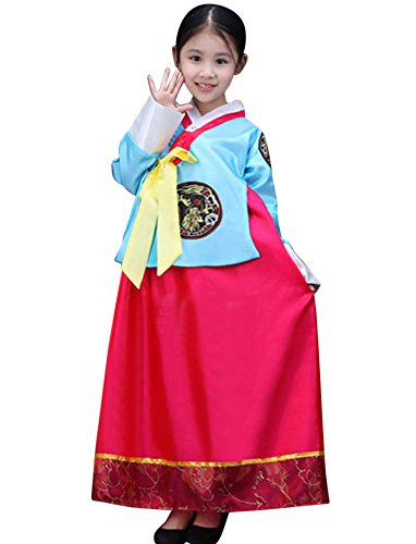 Korean Costume For Girl Kids (CRB Fashion Girls Traditional Kids Korean Hanbok Outfit Dress Costume (110cm, Blue Red))