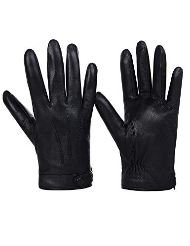 Sheeper Men's Touchscreen Texting Genuine Leather Driving Gloves Motorcycle Gloves (Black) M by Sheeper (Image #1)