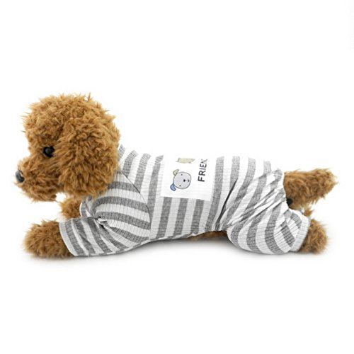 Ranphy Small Dog/Cat Outfits Doggie Cotton Clothes Puppy Neutral Jumpsuit Grey S