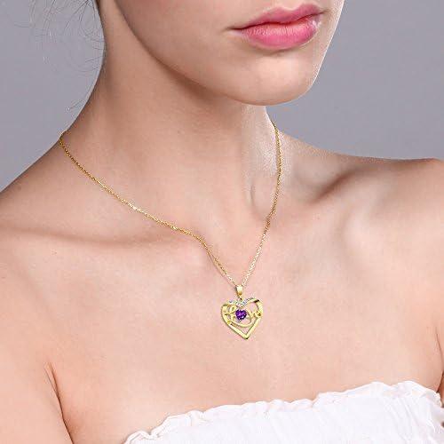 "Heart Amethyst Brazil Heart Neck Pendant with Chain 18/"" Cttw 0.4"