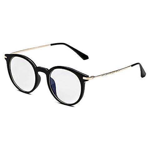 CHB Men's Women's Eyekepper Vintage Computer Glasses Anti-reflective Round Frame - Eyeglasses Light Blue Frame