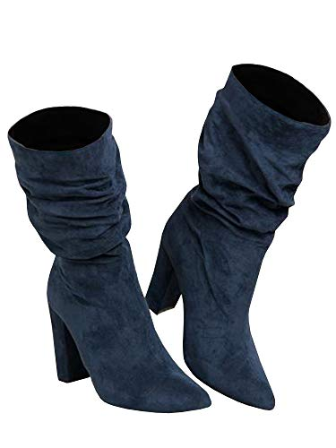(Womens Slouchy Block High Heel Boots Winter Slip on Chunky Pointed Toe Mid Calf Suede Boots Navy)