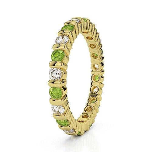 Or jaune 18carats 1/2ct G-H/VS sertie de diamants ronds Cut Péridot et éternité Bague Agdr-1093