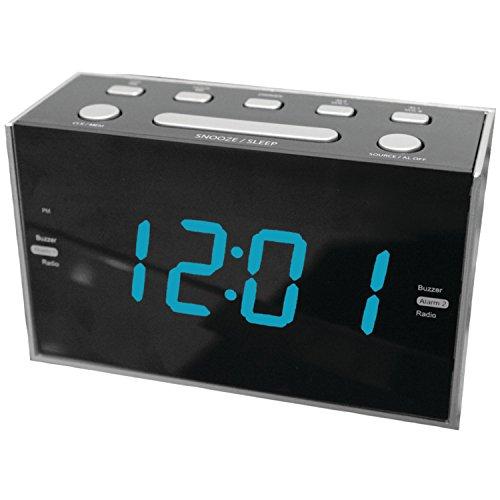 Sylvania SCR1053 Jumbo Digit Dual Alarm Clock Radio with Blue LED