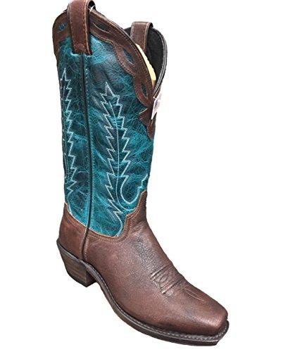 Abileen Dames Antiqued Rundleer Western Laars Vierkant Teen - 9215 Russett