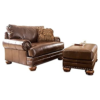Ashley Furniture Signature Design - Chaling Chair and a Half with 1 Accent Pillow - Traditional and Weatherworn Style - Antique Brown