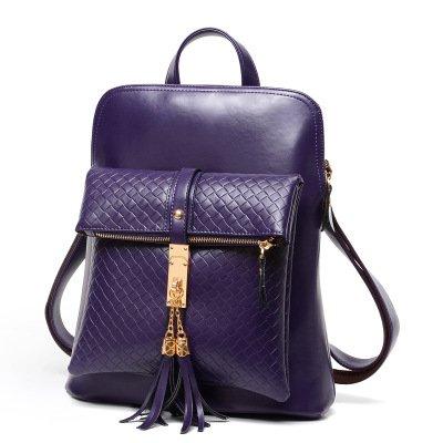 Mefly Bolsa De Portátil Bolso Bolsa De Mujeres Borla Negra Dark purple