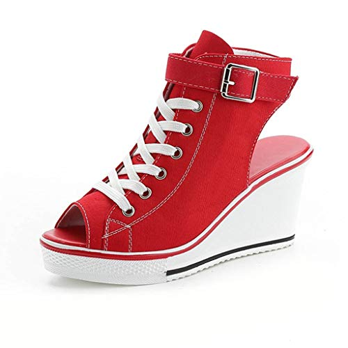Womens Wedge Platform Sneakers Ankle Booties Women Buckle Strap Canvas Espadrilles Hollow Out Walking Shoes (US:6, Red)