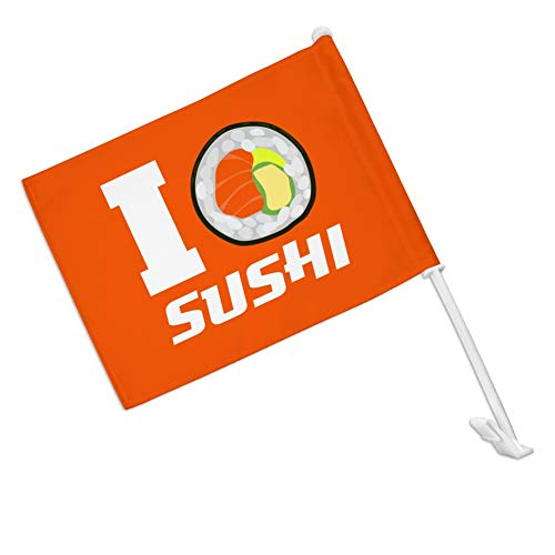 - GRAPHICS & MORE I Love Sushi Roll Heart Car Truck Flag with Window Clip On Pole Holder - Right Passenger Side