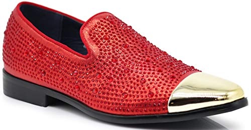 (SPK12 Men's Vintage Fashion Sparkle Rhinestone Patent Toe Designer Dress Loafers Slip On Shoes Classic Tuxedo Dress Shoes (10 D(M) US, Red_New))