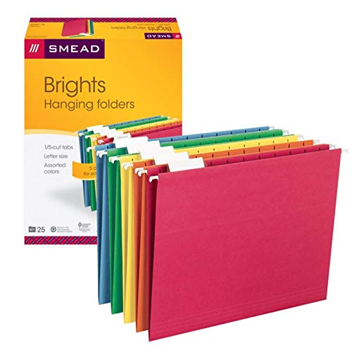 Folders Manila 25 - Smead Hanging File Folder with Tab, 1/5-Cut Adjustable Tab, Letter Size, Assorted Primary Colors, 25 Per Box (64059)