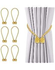 HangYu 6 PCS Magnetic Curtain Tiebacks Clips Window Tiebacks Holders for Curtain Rope Decorative Drapes Holdbacks Rope for Window Curtain(Gold)