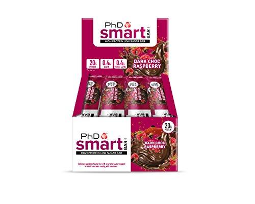 PhD Smart Bar-High Protein Low Sugar Bar, Dark Choc Raspberry, 64 g, Pack of 12
