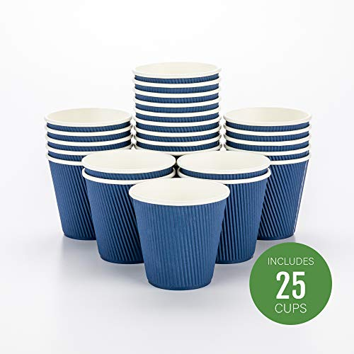 Disposable Paper Hot Cups - 25ct - Hot Beverage Cups, Paper Tea Cup - 8 oz - Midnight Blue - Ripple Wall, No Need For Sleeves - Insulated - Wholesale - Takeout Coffee Cup - Restaurantware 8 Oz Hot Tea