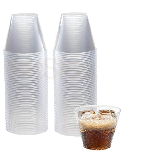 DRINKET 9-Oz Clear Plastic Cups Old Fashioned 9-Oz Clear Plastic Tumblers 100 Ct. Disposable Cups Reusable Cups Clear Heavy Duty Hard Plastic Party Cups Round Drinking Water Cups