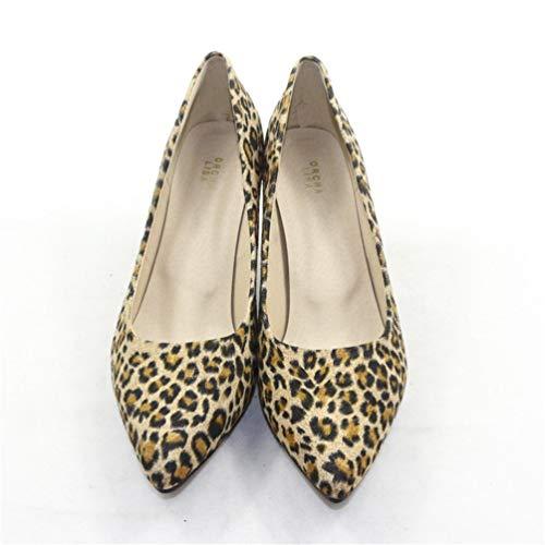 Mariage Aiguilles Escarpins Léopard Pointues Sexy Chaussures Impression Jaune Minces Court Talons Femmes Hauts n8TWw5Zqg5