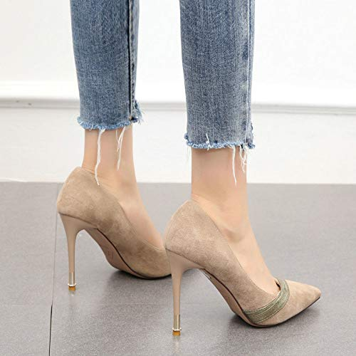 YMFIE temperamento da tacchi stiletto da singolo sexy A alti bocca Le punta scamosciate la scarpe donna scarpe lavoro a elegante abbinano bassa rHrq6wx