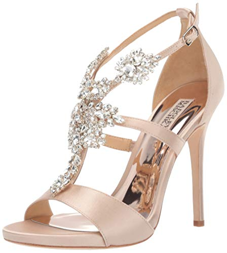 Badgley Mischka Women's Leah Heeled Sandal, Nude Satin, 7 M US from Badgley Mischka