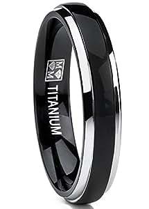 Ultimate Metals® Anillo de Matrimonio Titanio Unisexo, Banda Comodidad Encajar, Color Plata y Negro 4mm